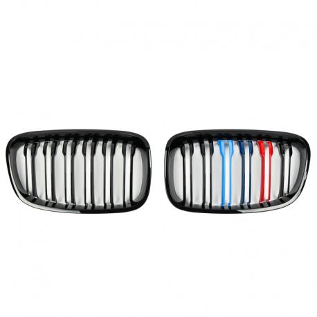 SET DE CALANDRE LOOK M DOUBLES LIGNES NOIR BRILLANT POUR BMW SERIE 1 F20 F21 (11-15) - COULEURS M