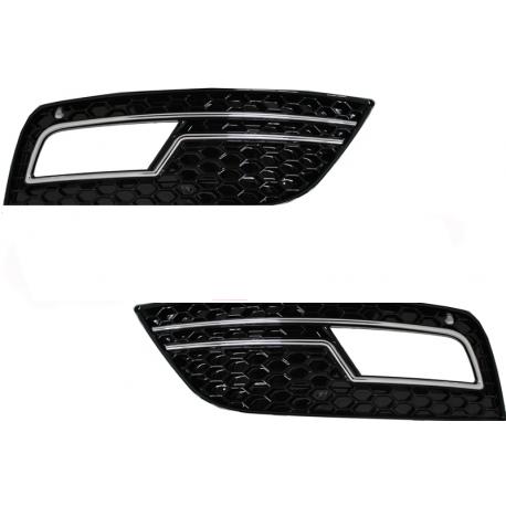 GRILLE ANTIBROUILLARD LOOK RS NOIR CHROME AUDI A4 B8 (12-15)