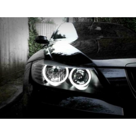 SET ANGEL EYES LED 20W BMW SERIE 3 E90 E91 LCI (05-08) - AVEC HALOGENE