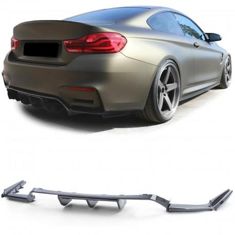 DIFFUSEUR PERFORMANCE + LAME DE PARE CHOCS ARRIERE POUR BMW M3 F80 + M4 F82 F83 - NOIR BRILLANT