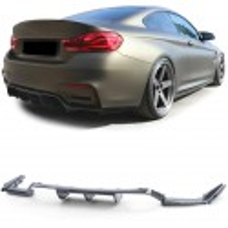 DIFFUSEUR PERFORMANCE + LAME DE PARE CHOCS ARRIERE POUR BMW M3 F80 + M4 F82 F83 - LOOK CARBON - 3 PCS