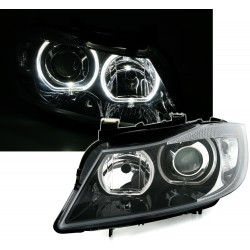 SET DE 2 PHARES AVANT DESIGN ANGEL EYES BLANC LOOK XENON POUR BMW SERIE 3 E90/E91 (05-11) - BERLINE - TOURING - FOND NOIR
