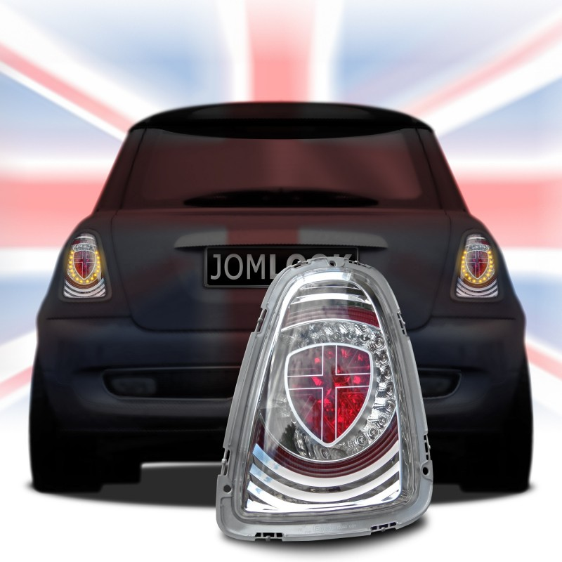feux arri re mini cooper r56 led union jack 11 chrome autodc. Black Bedroom Furniture Sets. Home Design Ideas