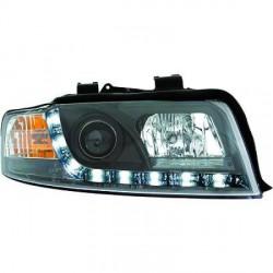SET DE DEUX PHARES AVANT DESIGN AUDI A4 (00-04) - MOD 2 - LED - AVEC REGLAGE HAUTEUR - H1+H1 - NOIR