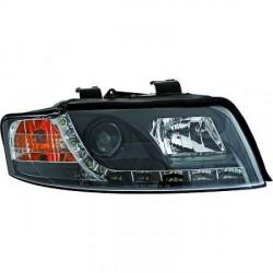 SET DE DEUX PHARES AVANT DESIGN AUDI A4 (00-04) - MOD 2 - R87 - LED - AVEC REGLAGE HAUTEUR - H1+H1 - NOIR