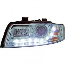 SET DE DEUX PHARES AVANT DESIGN AUDI A4 (00-04) - MOD 3 - LED - AVEC REGLAGE HAUTEUR - H1+H1 - CHROME