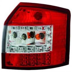 SET DE DEUX FEUX ARRIERE DESIGN AUDI A4 (00-04) - MOD 2 - ROUGE/BLANC - LED