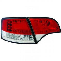 SET DE DEUX FEUX ARRIERE DESIGN AUDI A4 (05-08) - MOD 2 - BLANC/ROUGE - POUR BREAK - LED - AVEC CLIGNOTANT