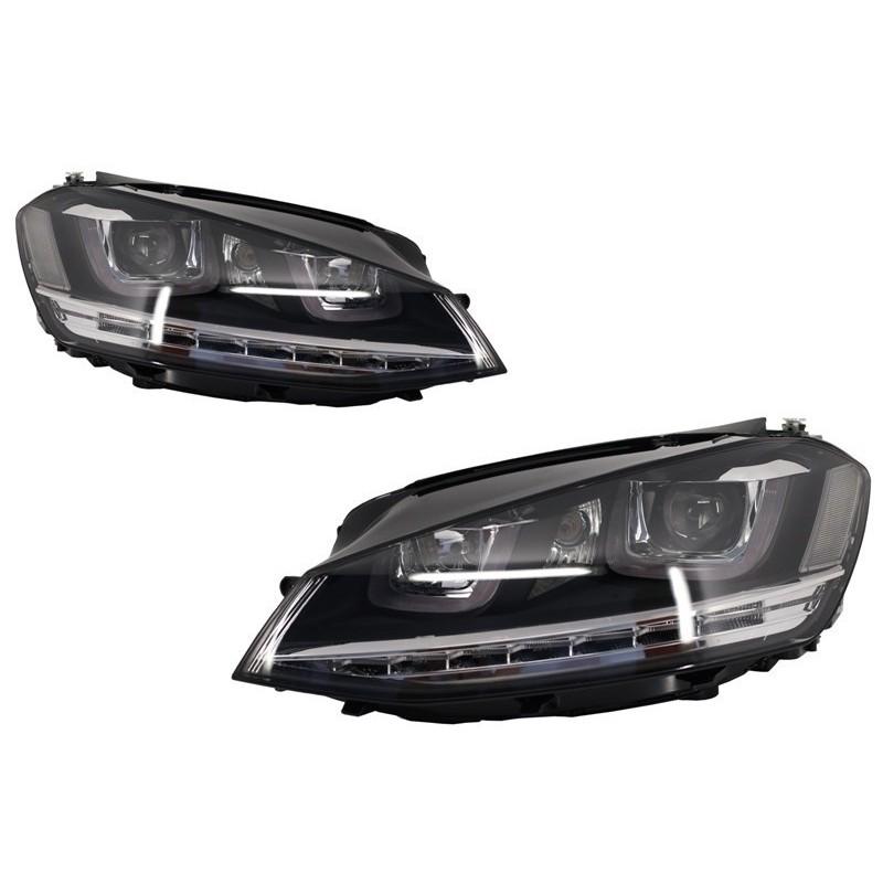 set de deux phares avant look xenon modele gte golf 7 12 16 avec double u led autodc. Black Bedroom Furniture Sets. Home Design Ideas