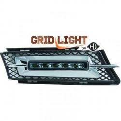 2 grilles anti-brouillards feux de jour LED fumé pour BMW Série 3 E90 E91 berline - touring  (05-08) pare-choc normal