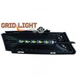 2 grilles anti-brouillards feux de jour LED full black pour BMW Série 3 E90 E91 berline - touring  (05-08) pare-choc normal