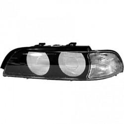 GLACE DE PHARE - VERRE AVANT GAUCHE BMW SÉRIE 5 E39 (95-00) - NOIR - AVEC CLIGNOTANT BLANC