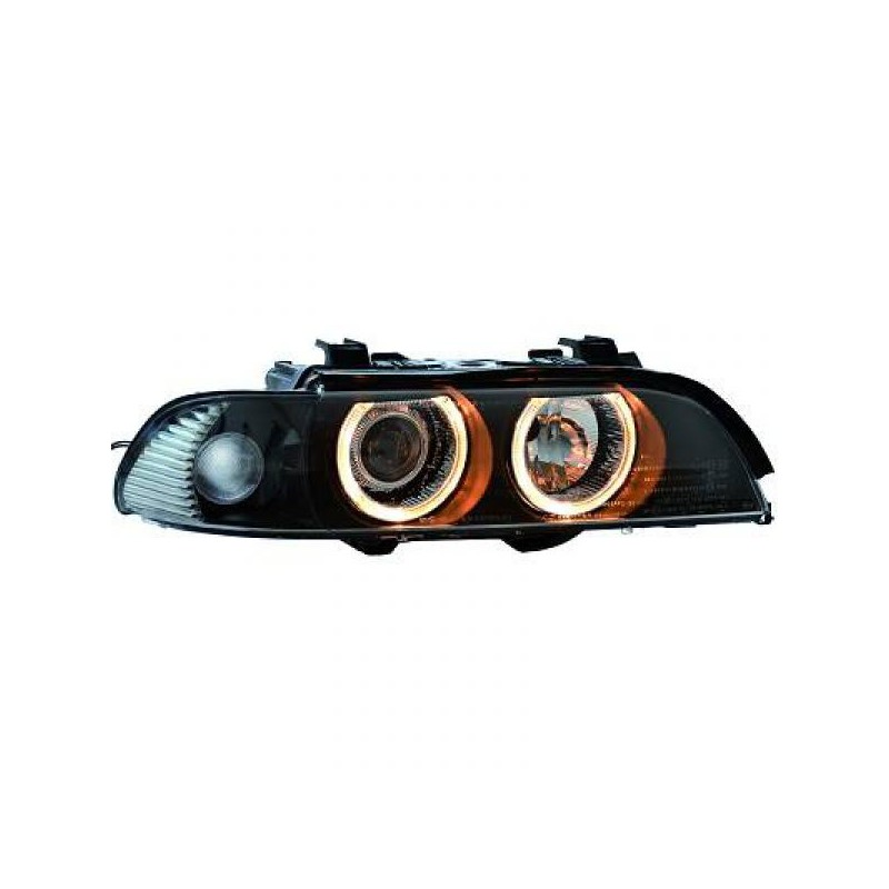 set de deux phares angel eyes noir bmw s rie 5 e39 phase 2 00 03 berline touring d2s h7. Black Bedroom Furniture Sets. Home Design Ideas