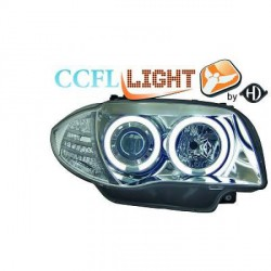 SET Phares avant design Angel eyes CCFL - Chrome - BMW Série 1 E81 E82 E87 E88