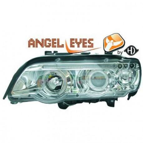 set de deux phares fond chrome angel eyes bmw x5 e53 phase. Black Bedroom Furniture Sets. Home Design Ideas