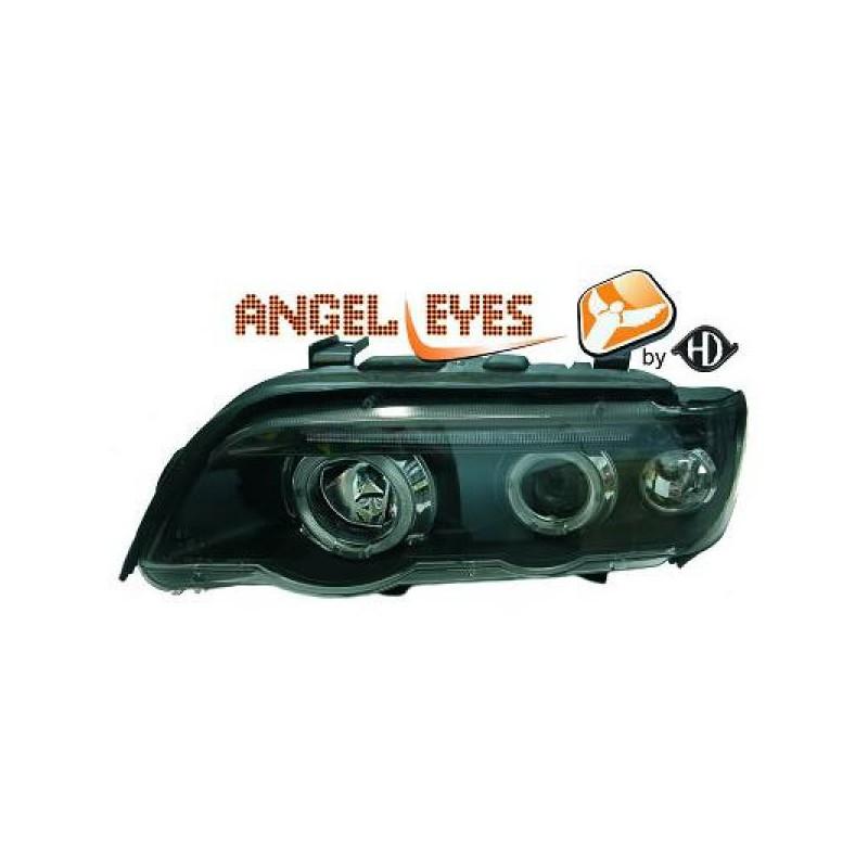set de deux phares fond noir avec angel eyes bmw x5 e53. Black Bedroom Furniture Sets. Home Design Ideas