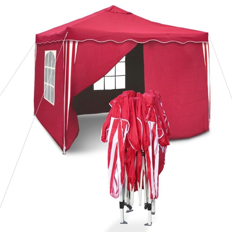 barnum de jardin rouge pliable 3 x 3 m mat riau oxford 200d avec parois lat rales et sac. Black Bedroom Furniture Sets. Home Design Ideas