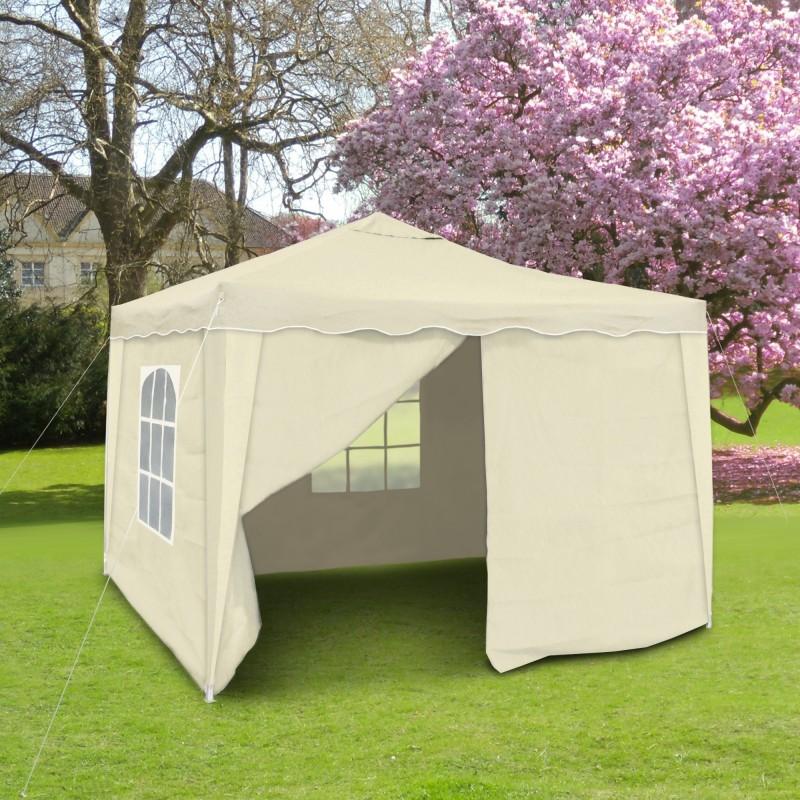 barnum de jardin beige pliable 3 x 3 m mat riau oxford 200d avec parois lat rales et sac. Black Bedroom Furniture Sets. Home Design Ideas