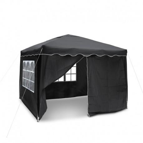 barnum de jardin noire pliable 3 x 3 m mat riau oxford 200d avec parois lat rales et sac. Black Bedroom Furniture Sets. Home Design Ideas