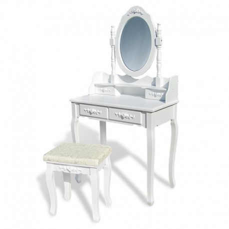 coiffeuse table de maquillage avec miroir tabouret en bois blanc avec ornements de roses. Black Bedroom Furniture Sets. Home Design Ideas