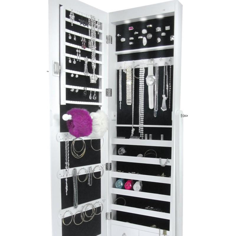 armoire bijoux avec clairage led grand miroir en. Black Bedroom Furniture Sets. Home Design Ideas