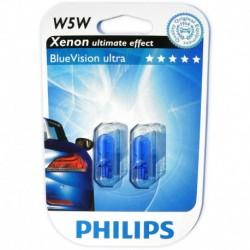 W5W 12V 5W Ampoule feux des Xénon optique, Blue Vision 3400°K, W2.1x9.5d