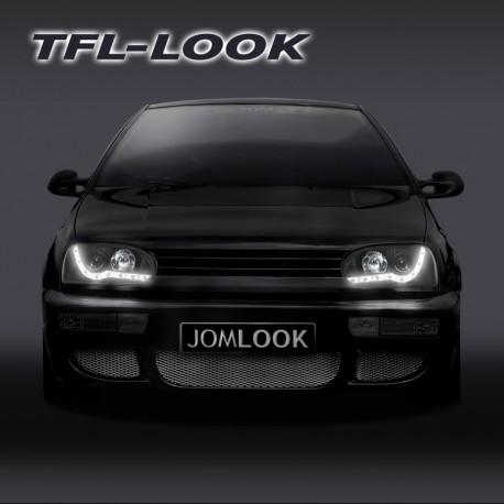 Phares avant, VW Golf 3  92-97, design feux diurnes, aspect xénon, avec correcteur de portée lumineuse, verre lisse / fond noir