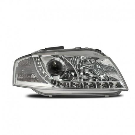 Phares avant, Audi A3 03-08, design feux diurnes, avec clignotants et correcteur de portée lumineuse, face lisse/fond chrome