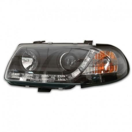 Phares avant, design feux diurnes, Opel Astra F 95-97, aspect xénon, clignotant intégré, face lisse/fond noir