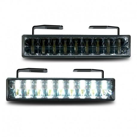 Feux diurnes, 18 LED Piranha. noir, fonction arrêt intégrée