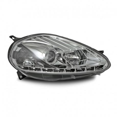 Phares avant, design feux diurnes, Fiat Punto  05-09, aspect xénon, réglage avec moteur, verre lisse/fond chrome