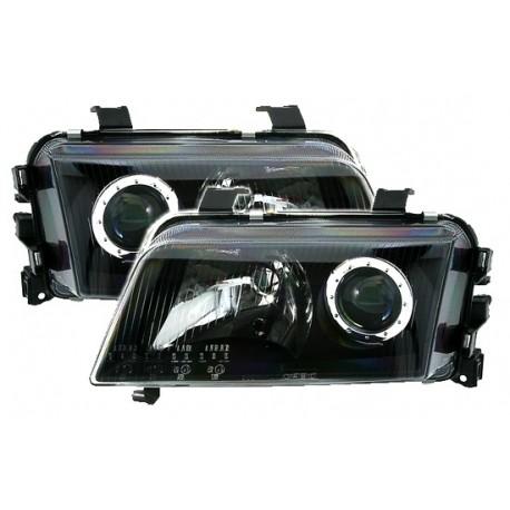 Phares avant Audi A4 B5 11/94-1/99, black, noire, lentille projecteur, pour réglage des projecteurs électrique
