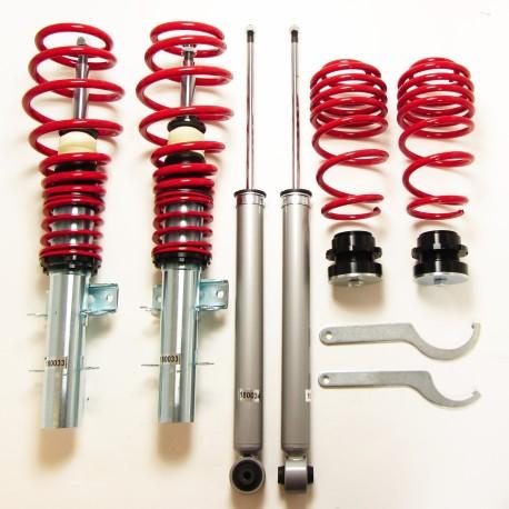 kit combiné fileté JOM Red Line pour VW Polo 9N/9N3 (01-09) 1.2/ 1.4/ 1.6/ 1.8T & 1.4 TDi/ 1.9SDi/ 1.9TDi