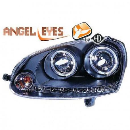 Set 2 Phares avant design avec Angel eyes + LED - Noir - H1/H1 - VW GOLF 5 - JETTA