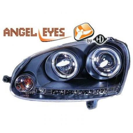 SET DE DEUX PHARES AVANT DESIGN AVEC ANGEL EYES + LED - NOIR - H1/H1 - VW GOLF 5 (03-08) - JETTA (05-10)