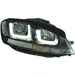 SET DE DEUX PHARES AVANT LOOK XENON AVEC LED 3D FEUX DE JOUR - H7/H1 - LISERET NOIR - VW GOLF VII (12-17)