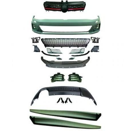 KIT COMPLET LOOK GTI VW GOLF VII (12-17) - PARE CHOC AVANT +  BAS DE CAISSE  + DIFFUSEUR ARRIERE - SANS PDC