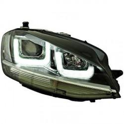SET DE DEUX PHARES AVANT LOOK XENON AVEC LED 3D FEUX DE JOUR - H7/H1 - LISERET CHROME - GRIS - VW GOLF VII (12-17)