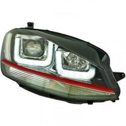 SET DE DEUX PHARES AVANT LOOK XENON AVEC LED 3D FEUX DE JOUR - H7/H1 - LISERET ROUGE - LOOK GTI - VW GOLF VII (12-17)