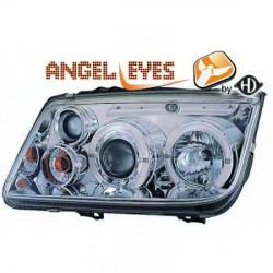 SET DE DEUX PHARES FOND CHROME ANGEL EYES POUR VW BORA BERLINE ET BREAK (98-05) - PAS POUR XENON - H1/H1/H3
