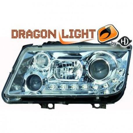 SET 2 phares fond chrome à LED pour  VW BORA berline et break (98-05) - Pas pour xénon - H1/H1