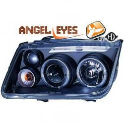 SET DE DEUX PHARES FOND NOIR ANGEL EYES POUR VW BORA BERLINE ET BREAK (98-05) - PAS POUR XENON - H1/H1/H3