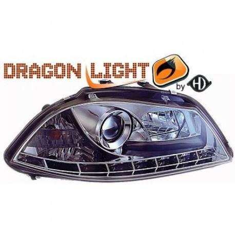 SET DE PHARES AVANT DESIGN A LED POUR SEAT IBIZA 6L - CORDOBA (02-08) - CHROME