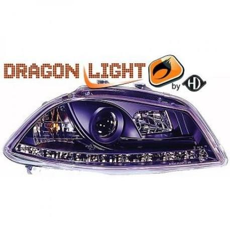 SET DE PHARES AVANT DESIGN A LED POUR SEAT IBIZA 6L - CORDOBA (02-08) - NOIR