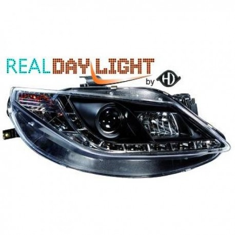 SET DE PHARES AVANT DESIGN A LED POUR SEAT IBIZA 6J (08-12) - NOIR