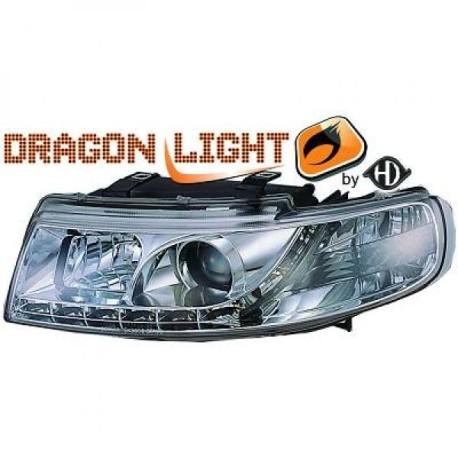 SET DE PHARES AVANT DESIGN A LED POUR SEAT TOLEDO - LEON 1M (99-04) - CHROME