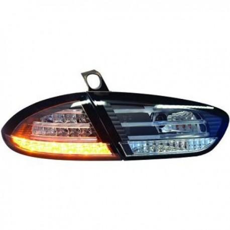 SET DE FEUX ARRIERES DESIGN NOIR POUR SEAT LEON (09-12) - AVEC LED