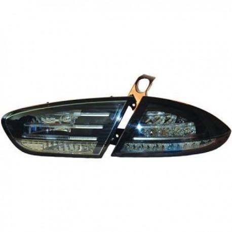 SET DE FEUX ARRIERES DESIGN NOIR FUME POUR SEAT LEON (09-12) - AVEC LED