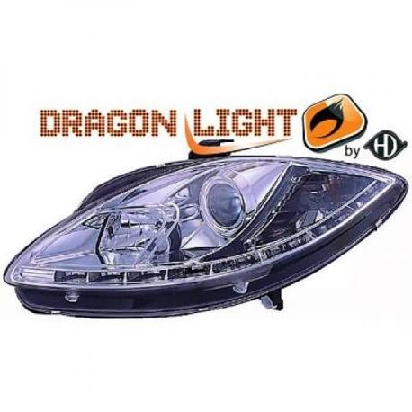 SET DE PHARES AVANT DESIGN A LED POUR SEAT TOLEDO - LEON - ALTEA (04-09) - CHROME