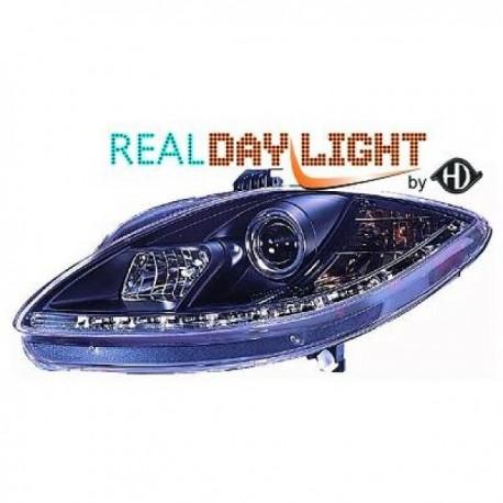 SET DE PHARES AVANT DESIGN A LED POUR SEAT TOLEDO - LEON - ALTEA (04-09) - NOIR